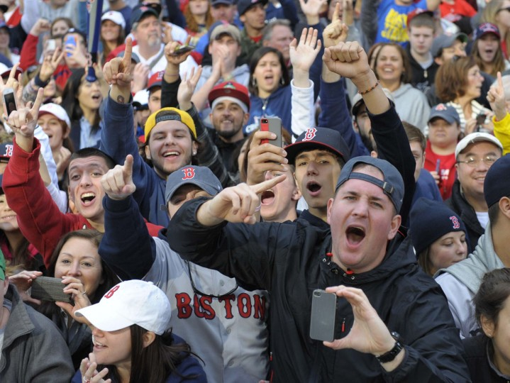 Boston Red Sox fans cheer during the World Series parade and celebration on Boylston Street. (Bob DeChiara/USA TODAY Sports)
