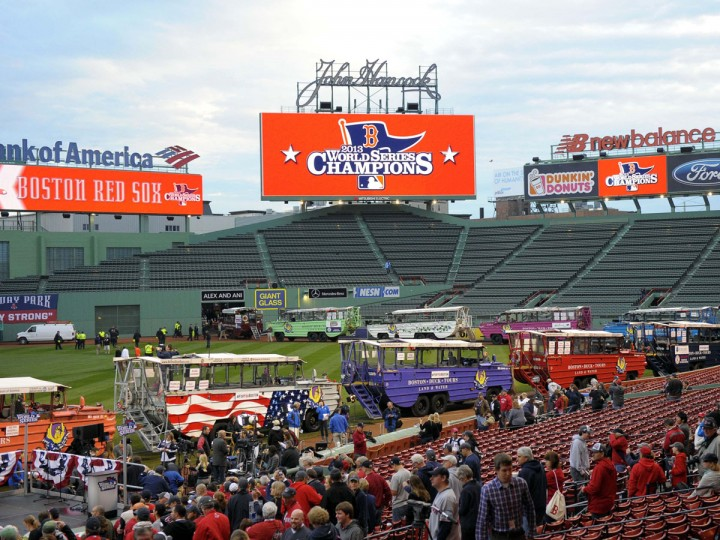 Duck boats line up inside of Fenway park prior to the World Series parade and celebration for the Boston Red Sox.(Bob DeChiara/USA TODAY Sports)