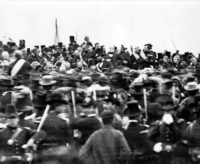 "A crowd forms for President Abraham Lincoln's Gettysburg address in Gettysburg, Pa., on Nov. 19, 1863. For Lincoln, the power of the men's sacrifice lay in the ""cause for which they gave the last full measure of devotion"": preserving the union and enabling ""a new birth of freedom"" encompassing all men. (Mathew B. Brady/ Brady Civil War Photograph Collection/Library of Congress)"