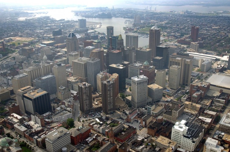 Aerial view of downtown Baltimore skyline.(Kenneth K. Lam/Baltimore Sun Photo/July 14, 2003)