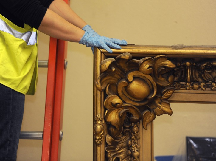 This is a detail of a corner ornament from the frame of the 1859 painting of George Washington resigning his commission from the main stairwell at the State House. (Barbara Haddock Taylor/Baltimore Sun)