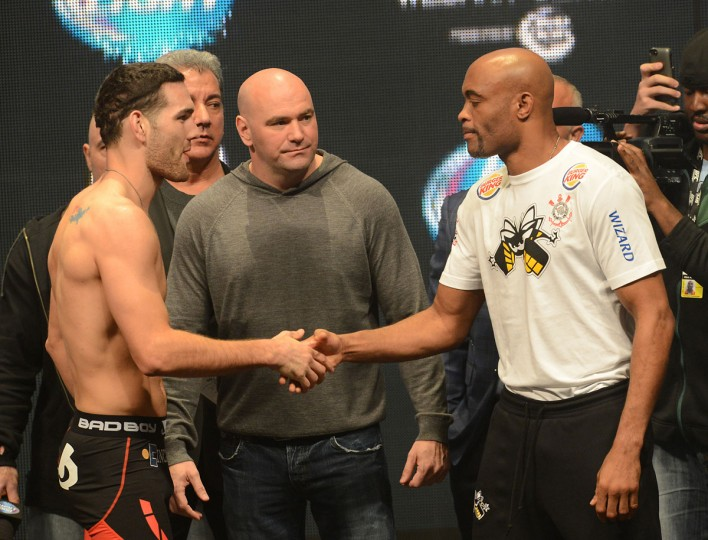 Chris Weidman and Anderson Silva face off at the weigh-in for their UFC Middleweight Title Fight at MGM Grand Garden Arena. (Jayne Kamin-Oncea-/USA Today Sports)