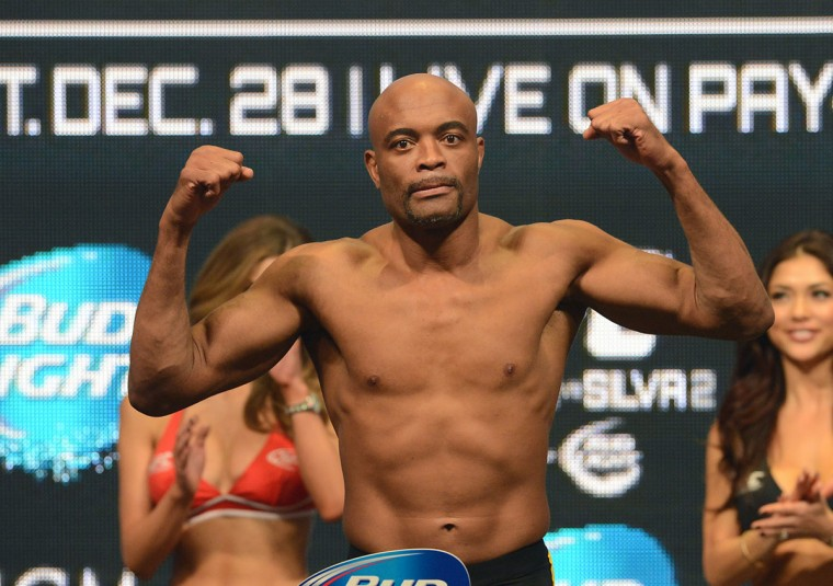 Anderson Silva at the weigh-in for his UFC Middleweight Title Fight against Chris Weidman (not pictured) on December 28 at MGM Grand Garden Arena. (Jayne Kamin-Oncea-/USA Today Sports)