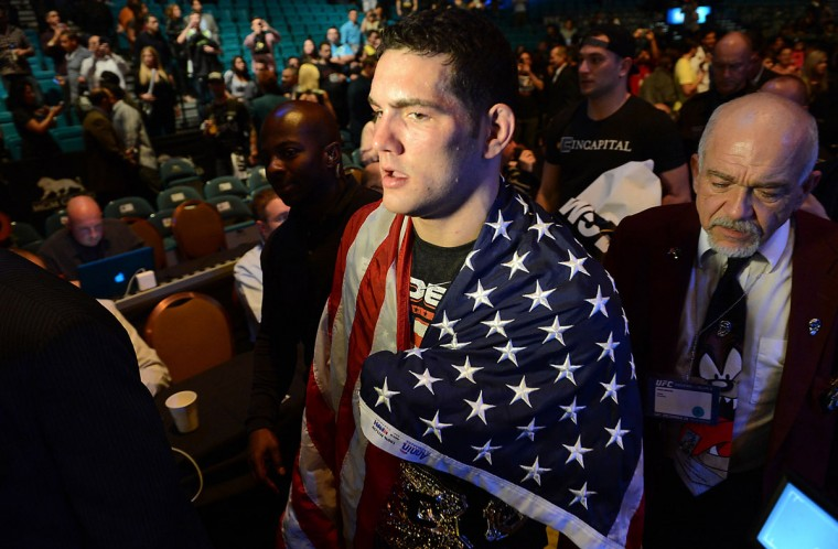 Chris Weidman after his UFC middleweight championship bout against Anderson Silva at the MGM Grand Garden Arena. Weidman won. (Jayne Kamin-Oncea/USA TODAY Sports)