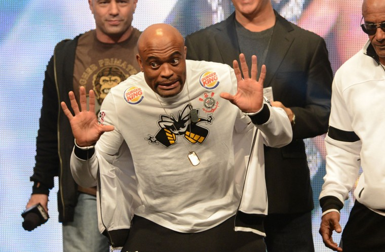 Anderson Silva on stage during the weigh-in for his UFC Middleweight Title Fight against Chris Weidman (not pictured) at MGM Grand Garden Arena. (Jayne Kamin-Oncea/USA TODAY Sports)