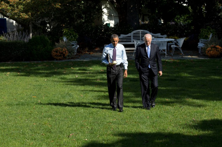 "Oct. 14, 2013 ""After a meeting in the Rose Garden, the President and Vice President walk back to the Oval Office."" (Official White House Photo by Pete Souza)"