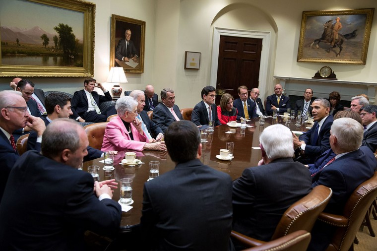 "Oct. 10, 2013 ""This is a case where the meeting itself, not the before or after pictures, really conveyed the tone as the President met in the Roosevelt Room with the House Republican leadership to discuss the federal government shutdown and debt ceiling deadline."" (Official White House Photo by Pete Souza)"