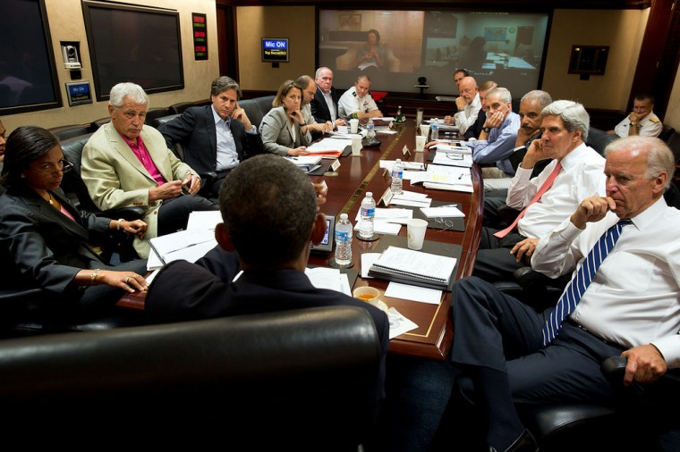 "Aug. 31, 2013 ""The President meets in the Situation Room with his national security advisors to discuss his decision to postpone a military strike against the Syrian government for a chemical weapons attack so he could first seek Congressional authorization."" (Official White House Photo by Pete Souza)"