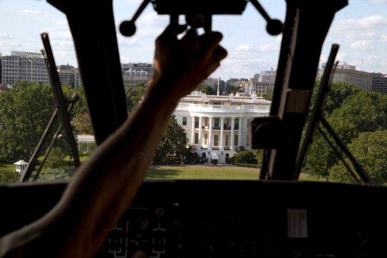 "July 25, 2013 ""Marine One approaches the South Lawn of the White House. I had asked the President's military aide if the pilot would let me photograph the approach from the cockpit, which yielded this photograph."" (Official White House Photo by Pete Souza)"