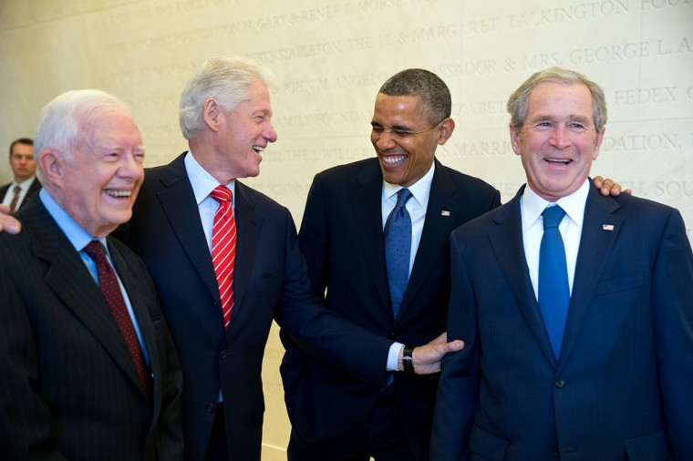 "April 25, 2013 ""Four Presidents. One funny story. Presidents Carter, Clinton, Obama and Bush wait backstage to be introduced during the dedication of the George W. Bush Presidential Library and Museum on the campus of Southern Methodist University in Dallas."" (Official White House Photo by Pete Souza)"