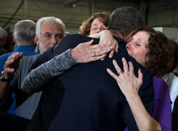 "April 3, 2013 ""The President hugs Sue Connors and Jane Dougherty, right, following his remarks at the Denver Police Academy in Denver, Colo. The women lost their sister, Mary Sherlach, in the Sandy Hook Elementary School shootings in Newtown, Conn."" (Official White House Photo by Pete Souza)"