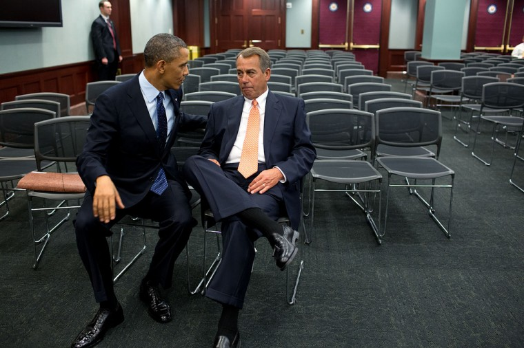 "March 13, 2013 ""The President talks with House Speaker John Boehner after the President participated in a Q&A with the House Republican Conference at the U.S. Capitol."" (Official White House Photo by Pete Souza)"