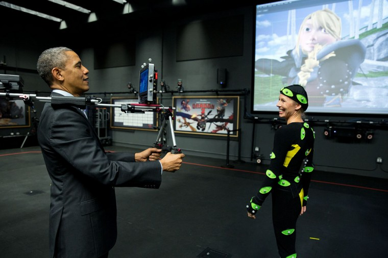 "Nov. 26, 2013 ""After watching a motion capture demonstration at the DreamWorks Animation studio in California, the President tried out the camera himself."" (Official White House Photo by Pete Souza)"