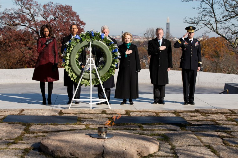 "Nov. 20, 2013 ""The President and First Lady, and former President Bill Clinton and Hillary Clinton, join others during a wreath laying ceremony at the gravesite of President John F. Kennedy at Arlington National Cemetery to mark the 50th anniversary of Kennedy's assassination."" (Official White House Photo by Pete Souza)"