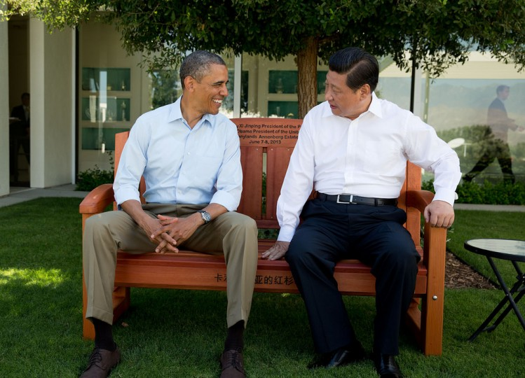 "June 8, 2013 ""The President sits with President Xi Jinping China on an inscribed redwood park bench at the Annenberg Retreat at Sunnylands in Rancho Mirage, Calif. The two leaders spent two days in bilateral talks at Sunnylands."" (Official White House Photo by Pete Souza)"