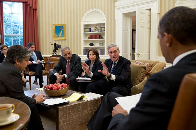 "April 16, 2013 ""FBI Director Robert Mueller leads a briefing for the President on the Boston Marathon bombings."" (Official White House Photo by Pete Souza)"