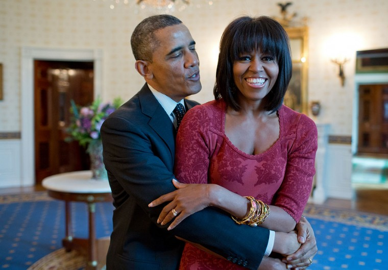 "Jan. 17, 2013 ""The President sings 'Happy Birthday' to the First Lady after greeting inaugural brunch guests in the Blue Room of the White House. Of course, the First Lady's new hairstyle attracted a lot of attention."" (Official White House Photo by Pete Souza)"