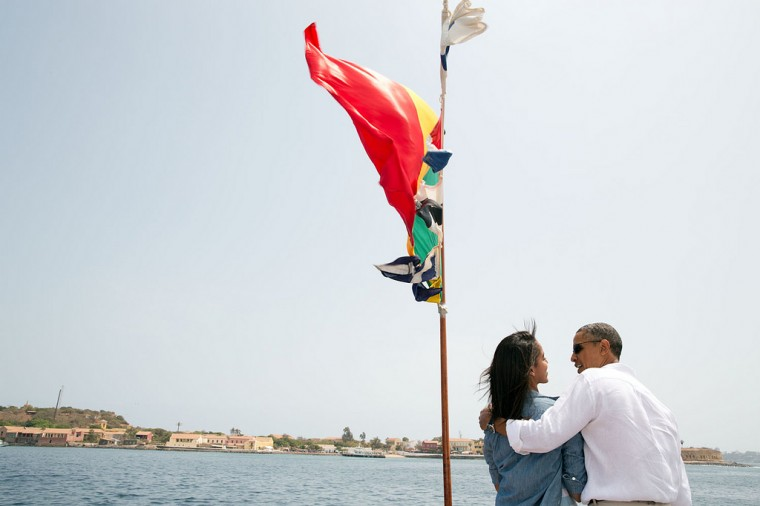 "June 27, 2013 ""The President and his daughter Malia talk on the bow of a ferry traveling to Goree Island, Senegal."" (Official White House Photo by Pete Souza)"
