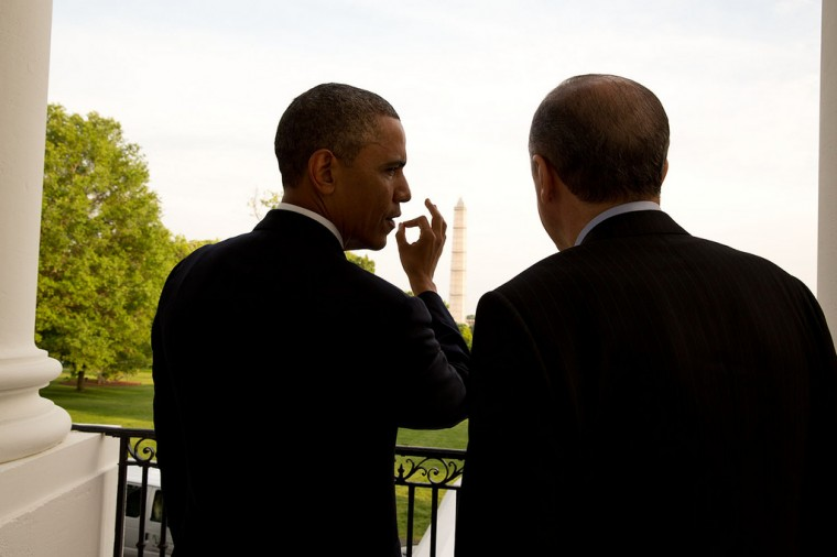 "May 16, 2013 ""Before his working dinner at the White House, the President escorted Prime Minister Recep Tayyip Erdogan of Turkey to the South Portico balcony and pointed out the Washington Monument (and Jefferson Memorial, which you can't see in this photo)."" (Official White House Photo by Pete Souza)"