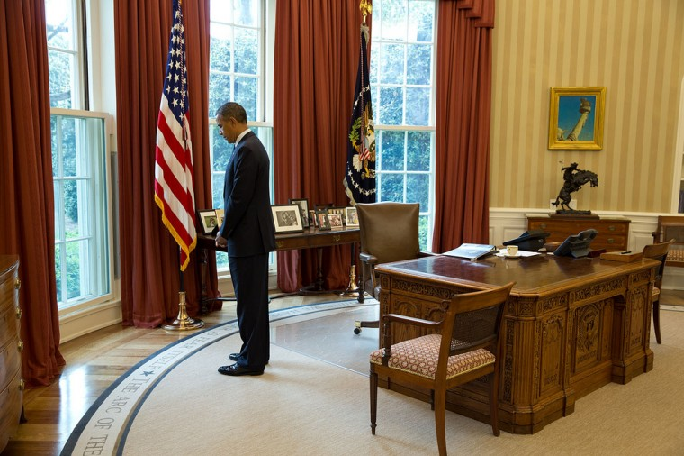 "April 22, 2013 ""The President pauses for a moment of silence in honor of the victims of the Boston Marathon bombings."" (Official White House Photo by Pete Souza)"