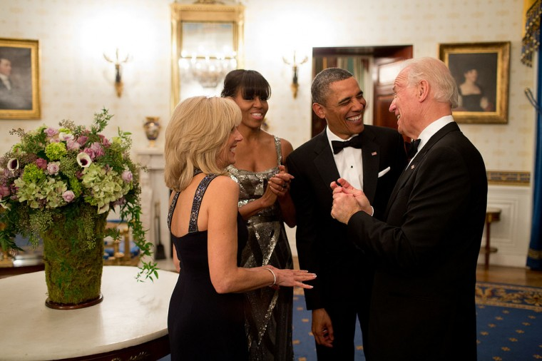 "Feb. 24, 2013 ""The President and First Lady joke with the Vice President and Dr. Biden in the Blue Room of the White House before the National Governors Association Dinner."" (Official White House Photo by Pete Souza)"