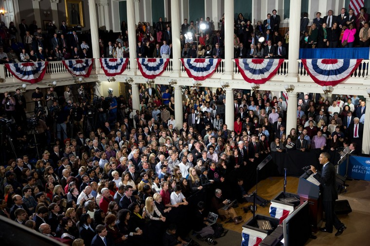"Oct. 30, 2013 ""Amanda Lucidon made this great overview photograph as the President delivered remarks regarding the Affordable Care Act at Faneuil Hall in Boston"". (Official White House Photo by Amanda Lucidon)"