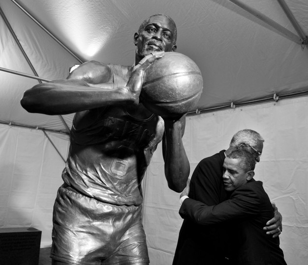 "Oct. 30, 2013 ""The President hugs former Boston Celtics Hall of Fame basketball player Bill Russell during a stop to view the statue of Russell before its unveiling at City Hall Plaza in Boston."" (Official White House Photo by Pete Souza)"