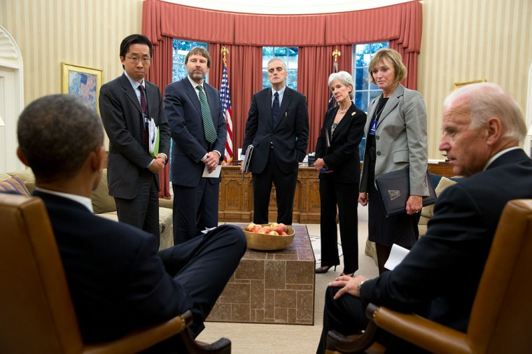 "Oct. 10, 2013 ""The faces of others give an indication of the President's mood at the conclusion of a meeting to discuss the problems associated with enrollment in the Affordable Care Act."" (Official White House Photo by Pete Souza)"