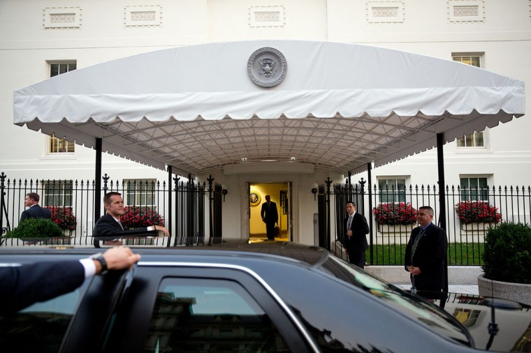 "Oct. 8, 2013 ""I love this angle by David Lienemann, of the Vice President leaving the West Wing to get into his motorcade on West Executive Avenue. (Official White House Photo by David Lienemann)"
