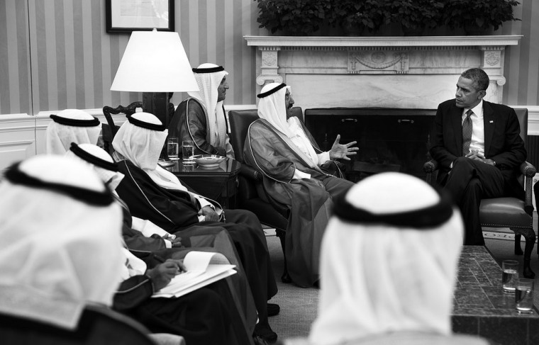 "Sept. 13, 2013 ""The President holds a bilateral meeting with His Highness Sheikh Sabah Al-Ahmad Al-Jaber Al Sabah, the Amir of Kuwait, in the Oval Office."" (Official White House Photo by Pete Souza)"