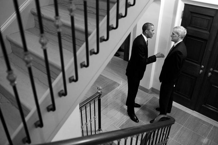 "Aug. 1, 2013 ""The President talks with Chief of Staff Denis McDonough in a staircase of the White House. I admittedly was influenced by the compositions of the photographer Cartier-Bresson in framing this."" (Official White House Photo by Pete Souza)"