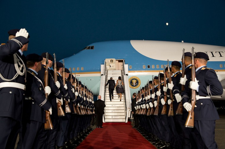 "June 19, 2013 ""A beautiful evening just after sunset as the President and and First Lady boarded Air Force One at Tegel Airport prior to departing Berlin, Germany."" (Official White House Photo by Pete Souza)"