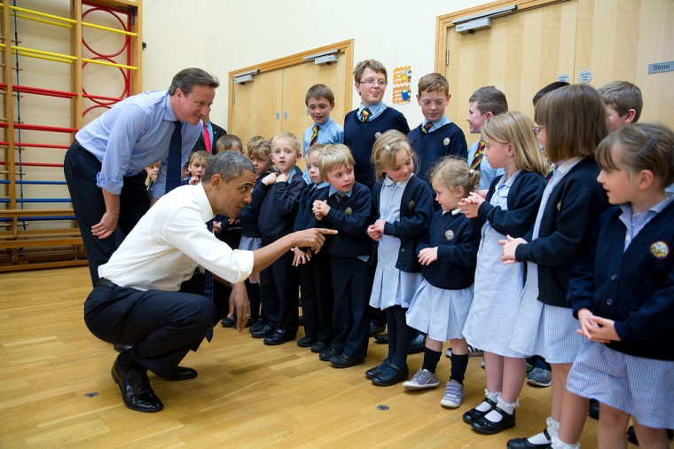 "June 17, 2013 ""The President and British Prime Minister David Cameron visit with school children at Enniskillen Primary School, Enniskillen, Northern Ireland, during a break from the G-8 Summit."" (Official White House Photo by Pete Souza)"
