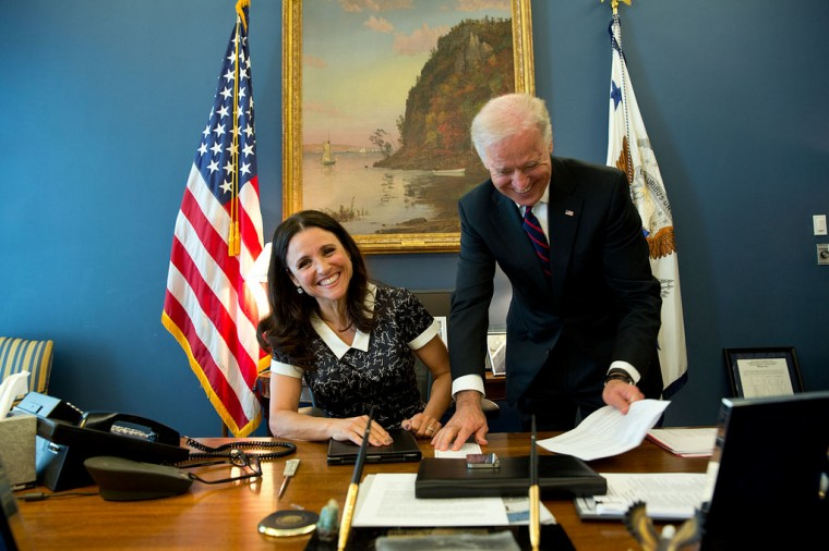 """Filling in for David Lienemann, Lawrence Jackson made this photograph of the real Vice President, with Julia Louis-Dreyfus, star of the HBO show Veep', in his West Wing office of the White House."""
