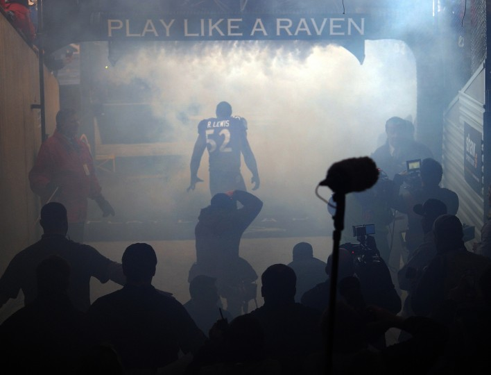 Ravens' Ray Lewis gets ready in the tunnel before being announced onto the field for his last home game, which was a playoff game against the Indianapolis Colts on January 6, 2013. (Lloyd Fox/Baltimore Sun)