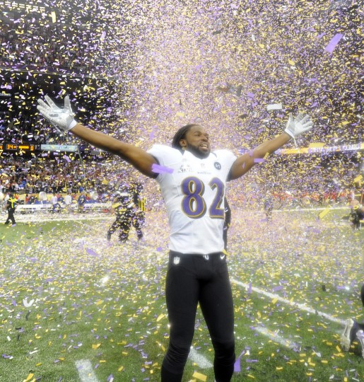 Torrey Smith celebrates as confetti rains down in the Super Dome as the Ravens defeated San Francisco to win Super Bowl on February 3, 2013. (Lloyd Fox/Baltimore Sun)