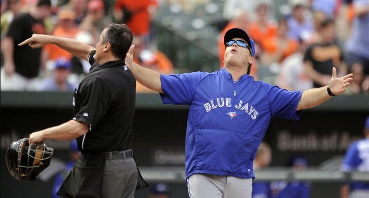 Toronto's manager John Gibbons gets ejected by home plate umpire Mike DiMuro for arguing strikes, in the 9th inning on April 23, 2013. (Gene Sweeney Jr./Baltimore Sun)
