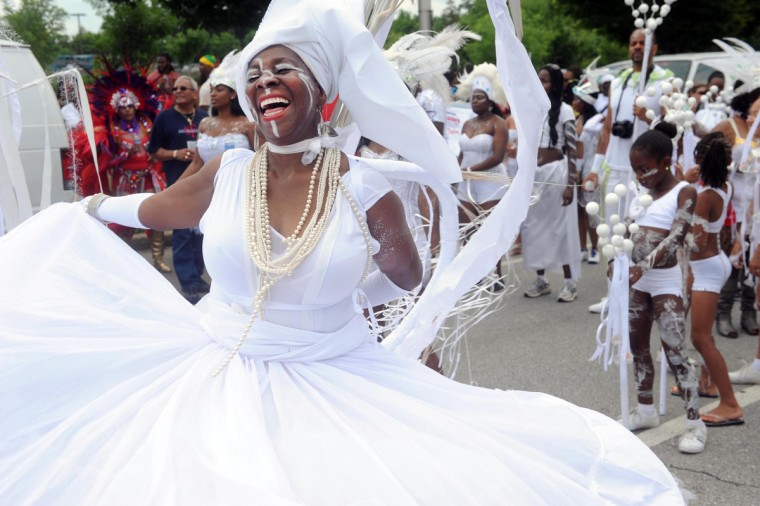 Diann Marshall, Hyattsville, originally from Trinidad, is the Queen of the Band. She is marching with Richard's Carnival, a group based in Washington, D.C, in the Annual Baltimore/Washington One Caribbean Carnival on July 13, 2013. (Kim Hairston/Baltimore Sun)