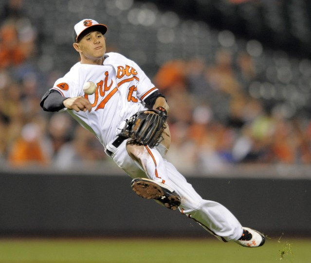 Orioles' third baseman Manny Machado makes an off balance throw and is unable to get Rays' Desmond Jennings at first base in a matchup against the Tampa Bay Rays at Camden Yards on August 19, 2013. (Lloyd Fox/Baltimore Sun)
