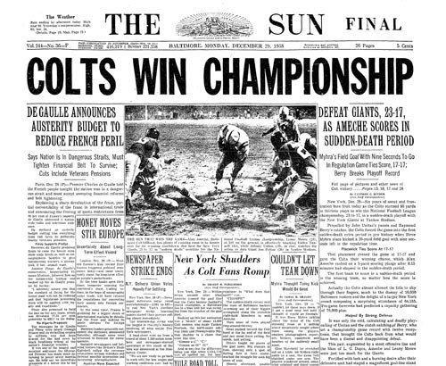 The Baltimore Sun front page the day after the Dec. 28 game. (Baltimore Sun file)