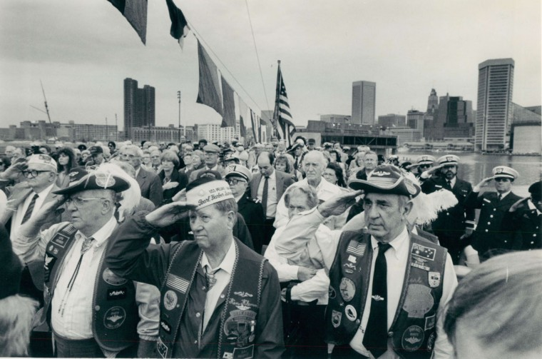 U.S. Coast Guard Cutter Taney, observance of members of the Pearl Harbor Survivors Association, along with veterans groups gather for memorial service and wreath tossing. (File photo/Dec. 7, 1988)