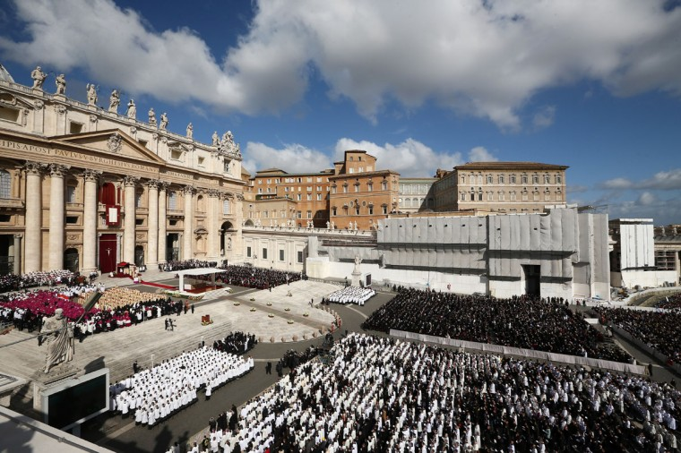 A general view during the Inauguration Mass for Pope Francis in St Peter's Square on March 19, 2013 in Vatican City, Vatican. The mass is being held in front of an expected crowd of up to one million pilgrims and faithful who have filled the square and the surrounding streets to see the former Cardinal of Buenos Aires officially take up his role as pontiff. Pope Francis' inauguration takes place in front of Cardinals and spiritual leaders as well as heads of state from around the world. (Dan Kitwood/Getty Images)