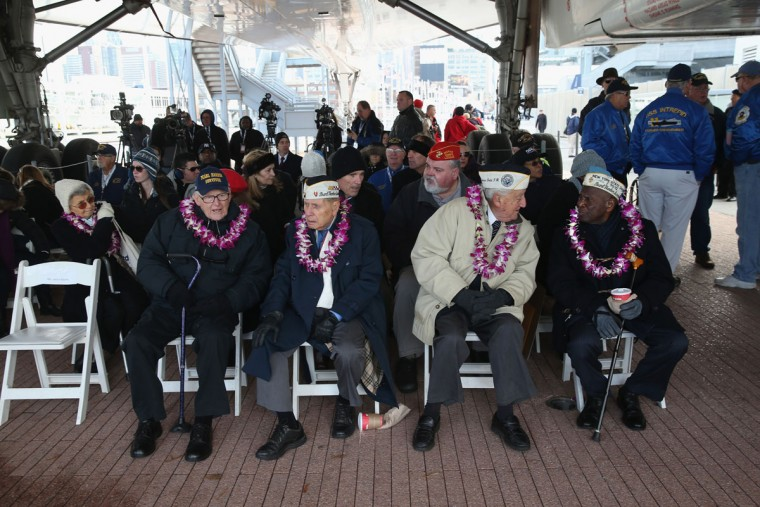 Pearl Harbor survivors attend a ceremony marking the 72nd anniversary of the attack on Pearl Harbor, Hawaii on December 7, 2013 in New York City. Four Pearl Harbor survivors from the New York area gathered with former crew members of the USS Intrepid to mark the Japanese surprise attack on December 7, 1941 which killed 2,402 Americans and brought the United States into WWII. (John Moore/Getty Images)