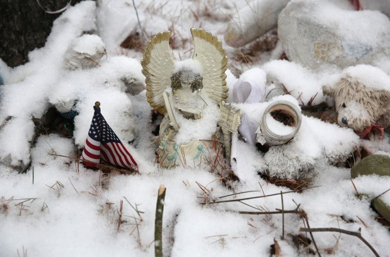 Fresh snow covers a memorial near the former site of Sandy Hook Elementary school on December 14, 2013 in Newtown, Connecticut. One year ago Adam Lanza shot and killed 20 first graders and six adults at the school. Authorities demolished the school in October. Newtown decided not to hold a public memorial on the anniversary out of respect for victims' survivors, and the town appealed for privacy. (John Moore/Getty Images)