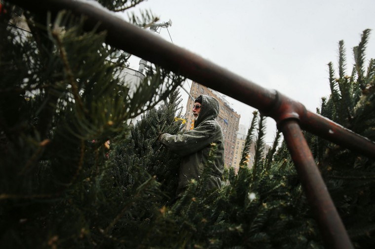A man sells Christmas Trees during a snow storm on December 14, 2013 in Brooklyn. (Spencer Platt / Getty Images)