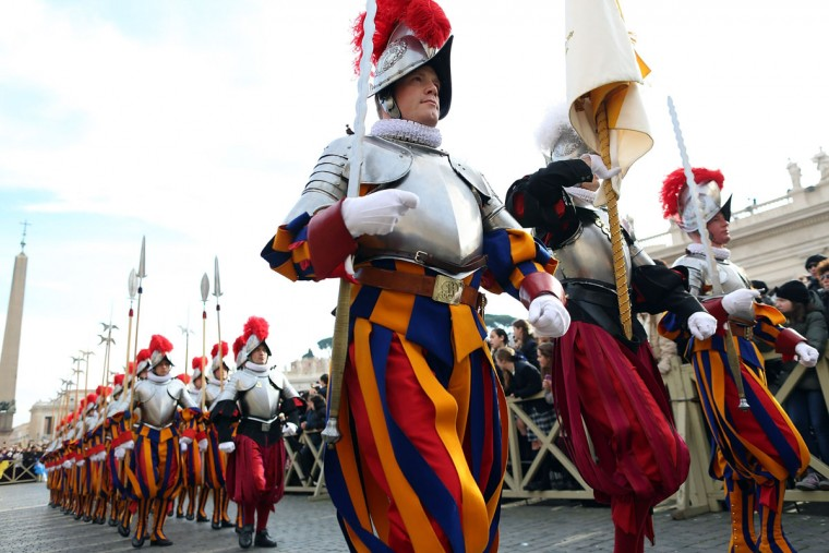 Swiss Guards arrive in St. Peter's Square on December 25, 2013 in Vatican City, Vatican. (Franco Origlia/Getty Images)