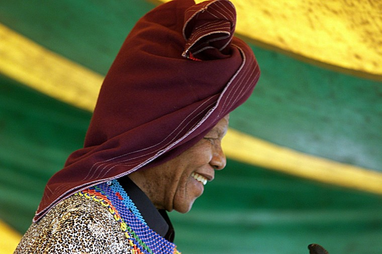 The former South African president Nelson Mandela wears a traditional Xhosa hat 11 February 2000, during a ceremony at his village of Qunu. Mandela is celebrating the 10TH anniversary of his release from the Robben Island jail. (Yaov Lemmer/AFP/Getty Images)