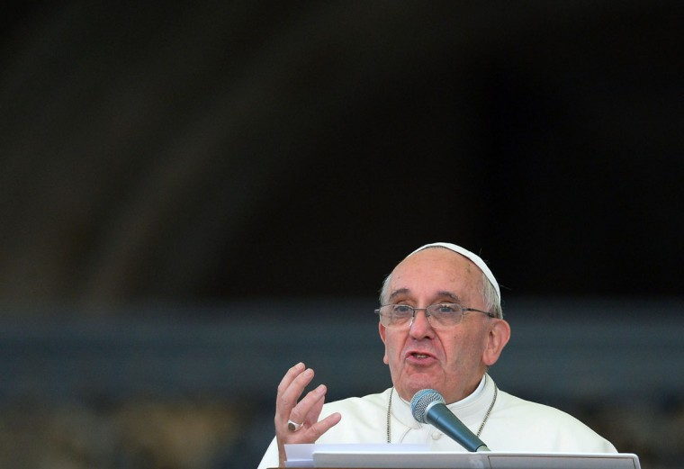 Pope Francis addresses pilgrims on October 12, 2013 as he leads a prayer in front of Our Lady of Fatima in St. Peter's square as part of a Marian Day event at the Vatican. (Vincenzo Pinto/AFP/Getty Images)