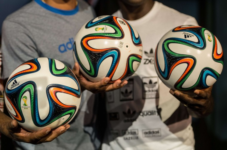 Brazuca, the official ball for the Brazil 2014 FIFA World Cup, is pictured during its launch in Rio de Janeiro, Brazil. (YOSHI CHIBA/AFP/Getty Images)