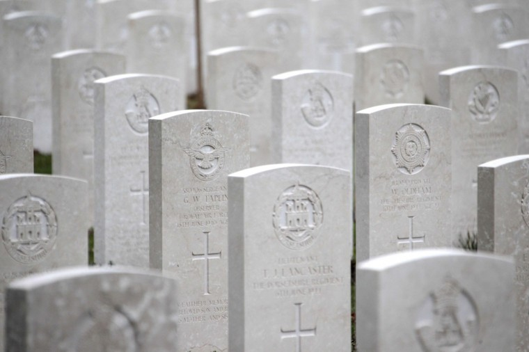 The British military cemetery of Bayeux, northwestern France, features over 4,100 tombstones of the British military. (CHARLY TRIBALLEAU / AFP/Getty Images)